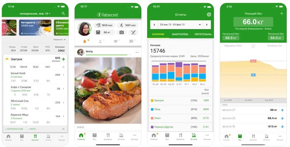 приложение для подсчета калорий FatSecret